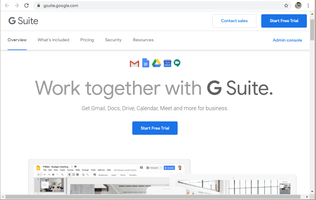 Start Free Trial of G Suite