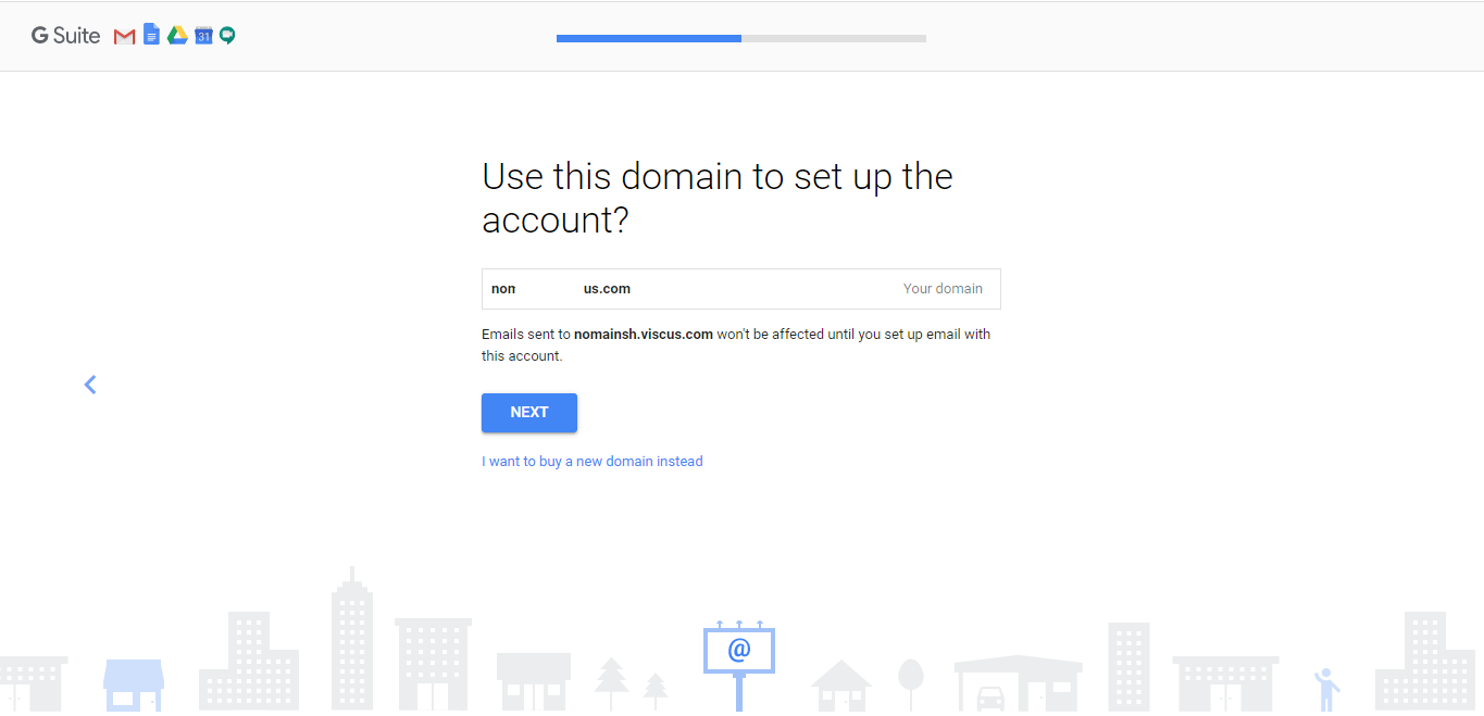 Use domain name to set up account