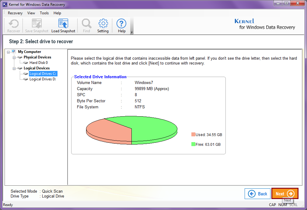select the drive to recover your files