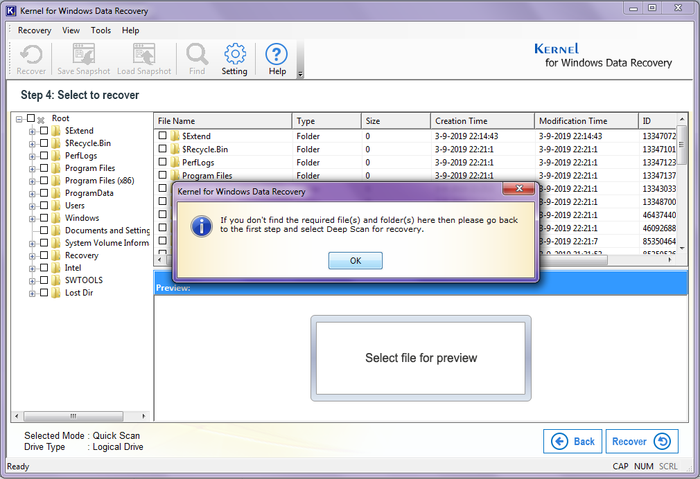 Try Deep Scan mpde for recovery if you don't find the missing files