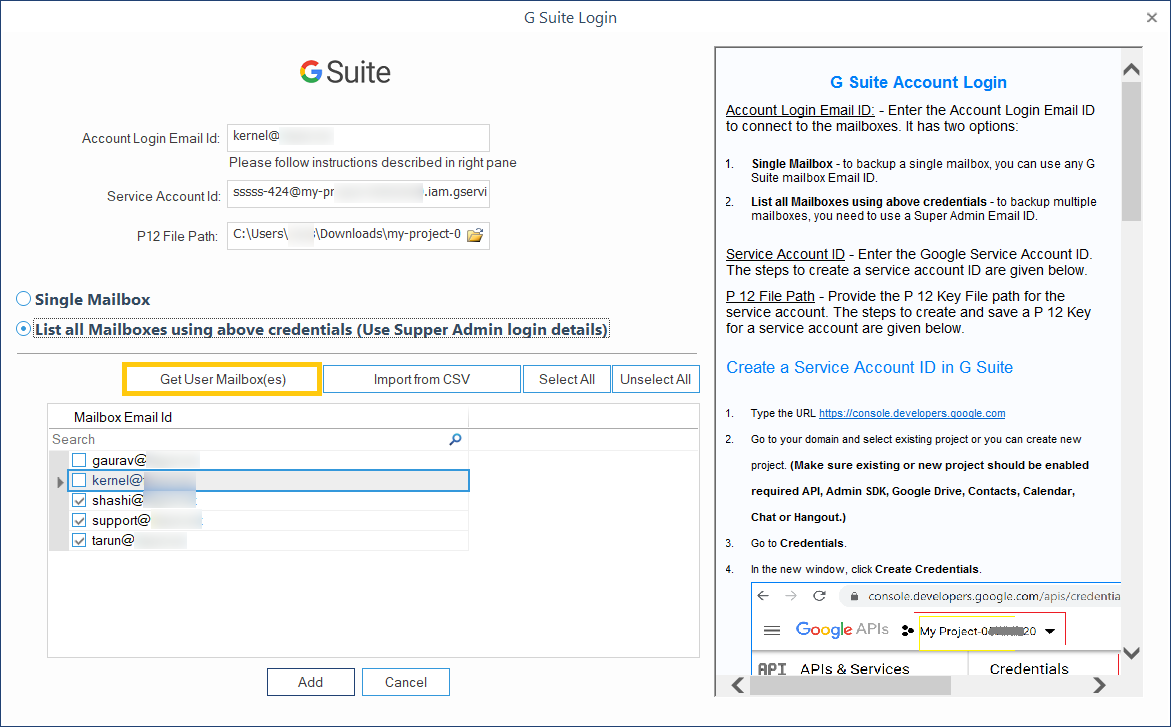 add the source G Suite account