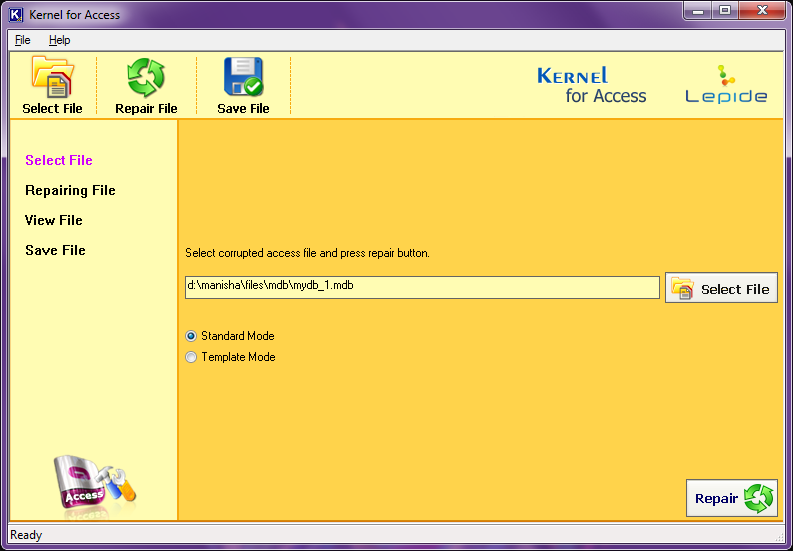 select the access database file