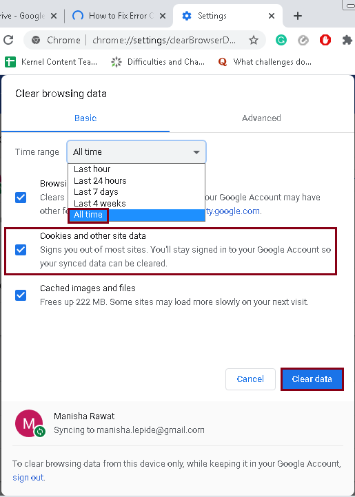 Clear browsing data from the menu
