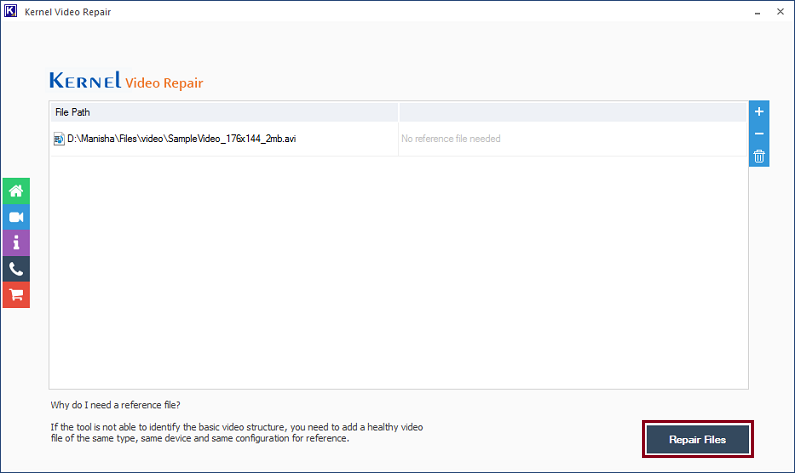 click on the Repair Files option