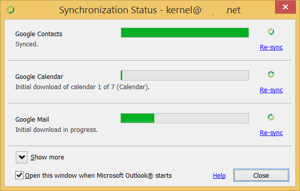 check the progress of syncing