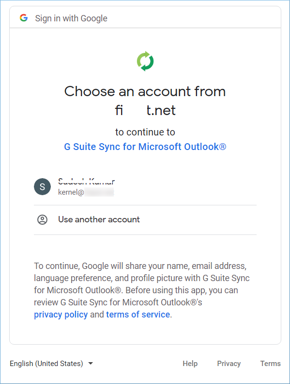 Choose the account to sync