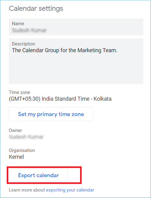 Click the Export Calendar option