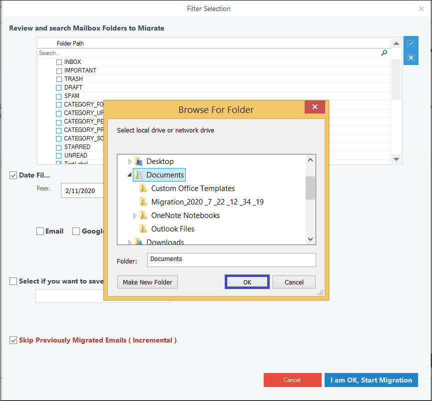 Provide a saving location for the backup PST
