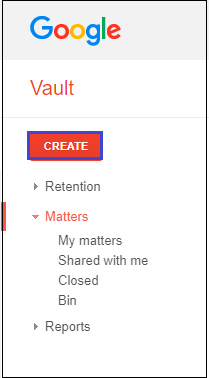 click on the CREATE option