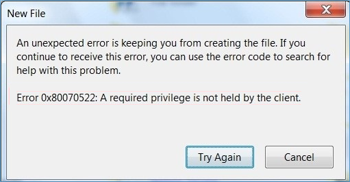 Error code #0x80070522
