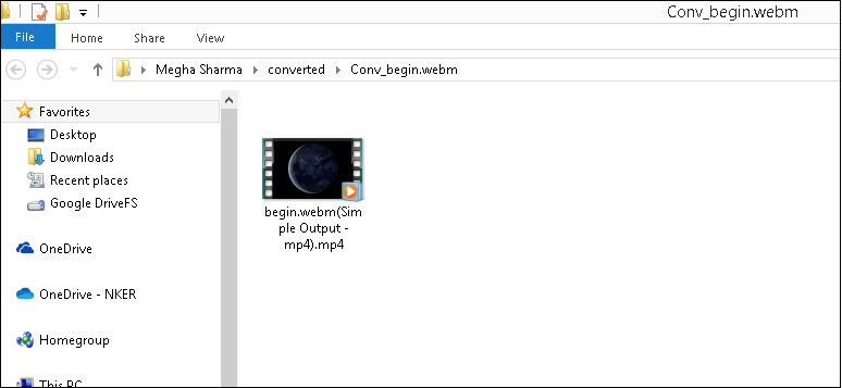 open the folder with the converted file