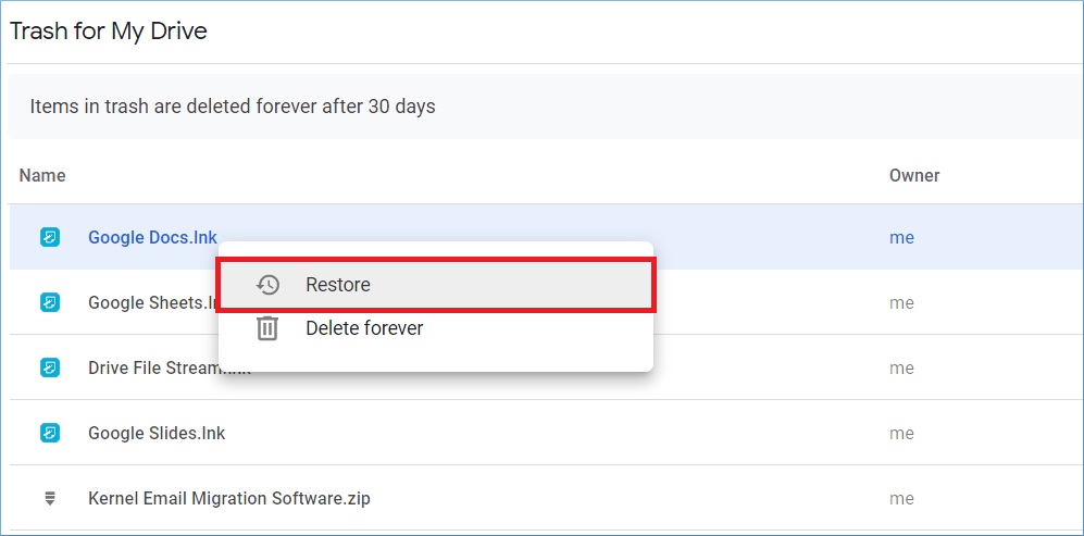 choose the Restore option