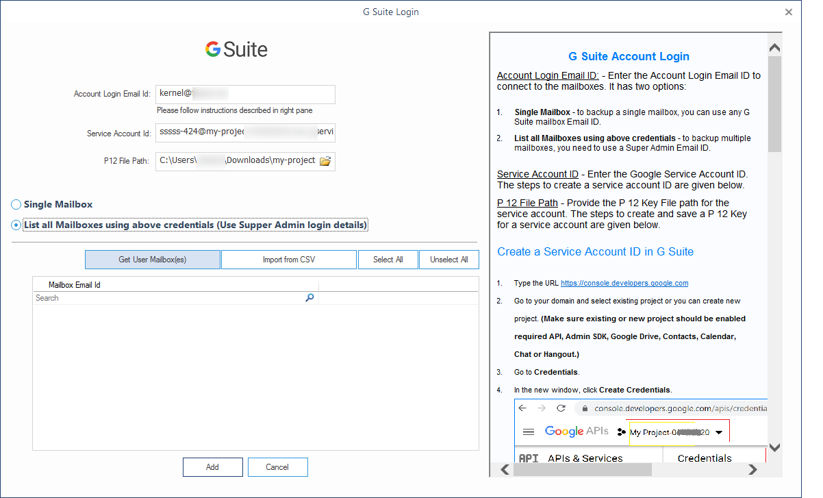 Enter G Suite account details