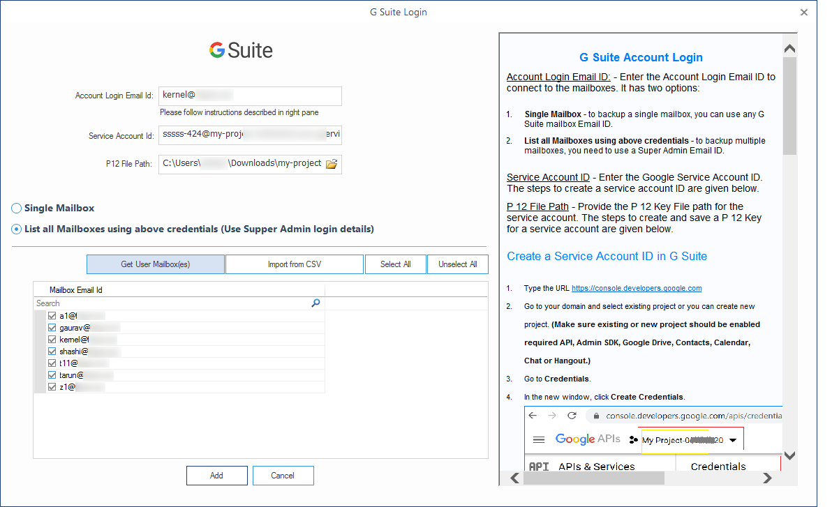 Select the required G Suite mailboxes