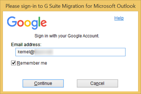 Input the username of the G Suite