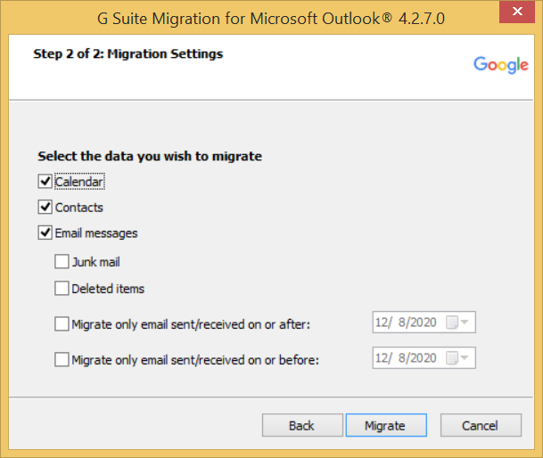 Click on Migrate button