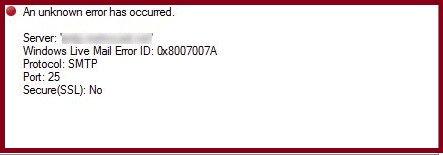 Windows Live Mail 0x8007007A error
