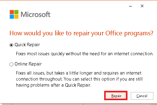 select the repair option