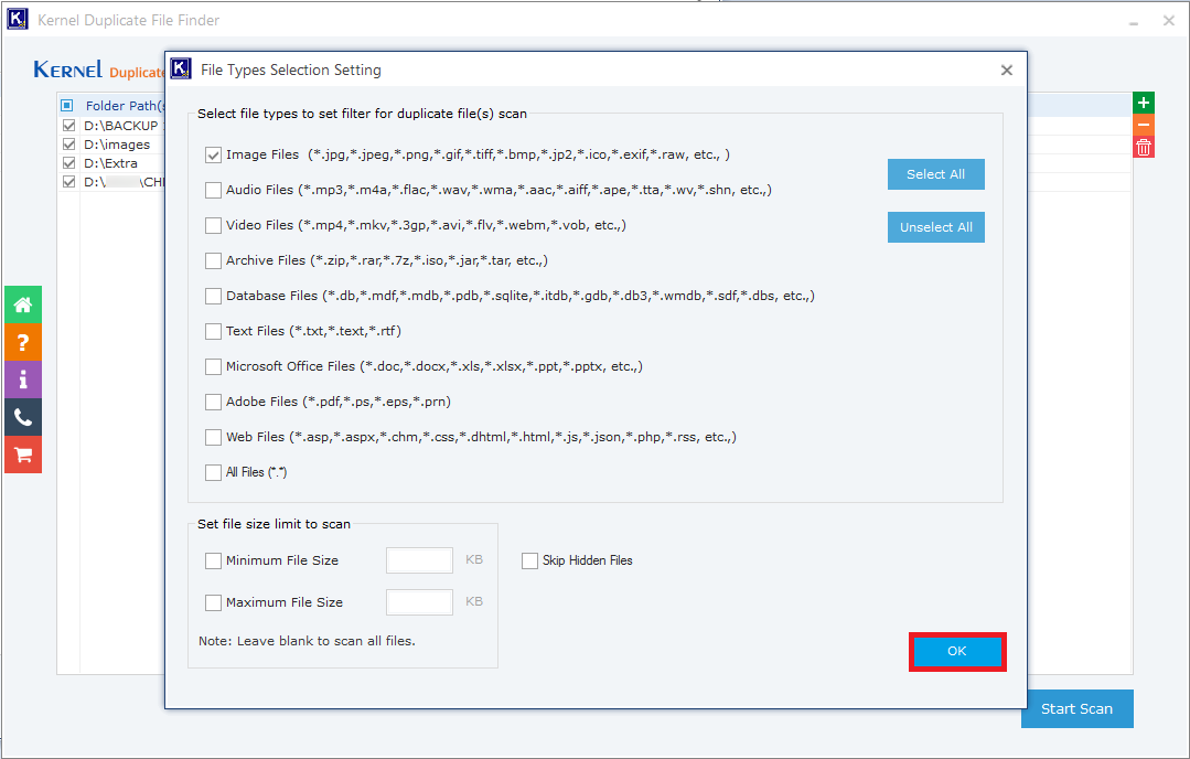 Provide the filtering details