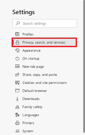 Select the Privacy, search and services