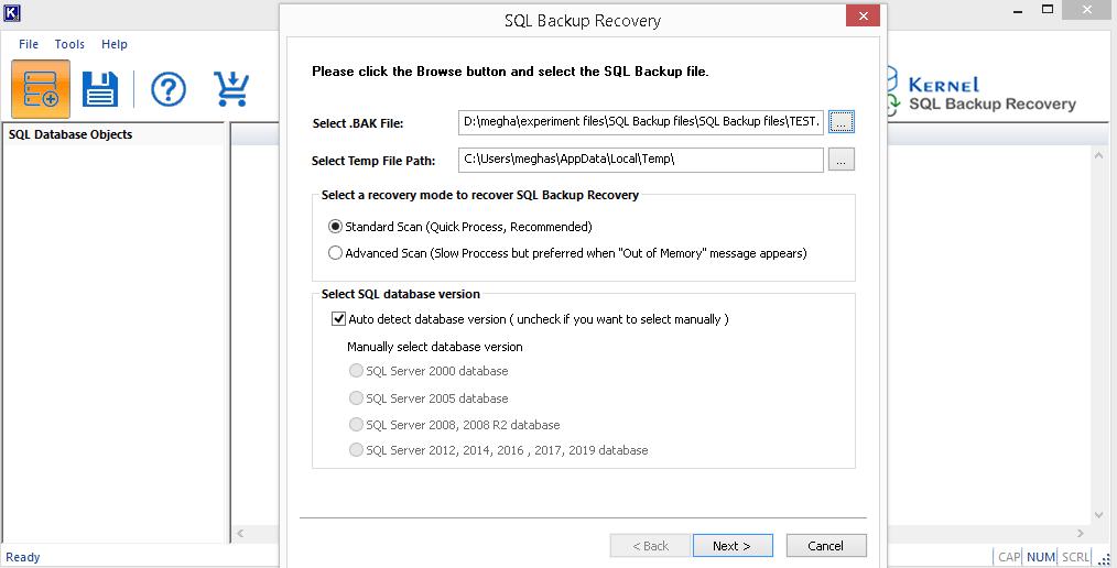 Auto detect database version