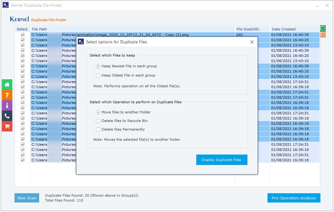 Display Duplicate Files