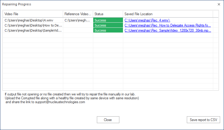 save the report in the CSV format