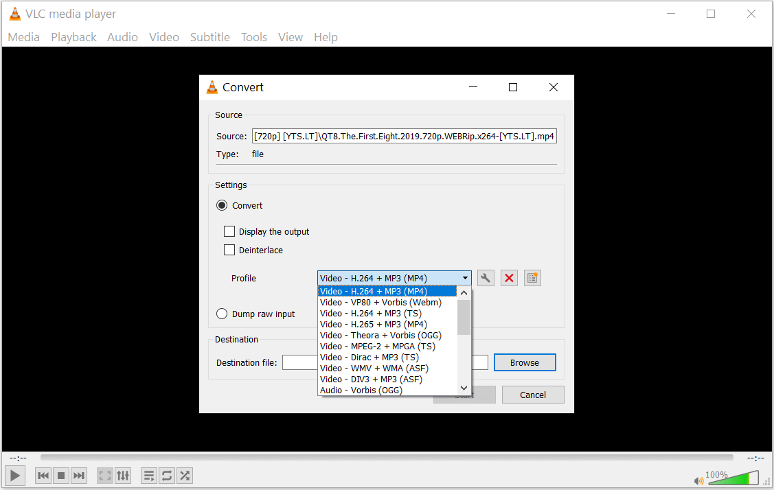 choose Video – H.264 + MP3 (MP4)