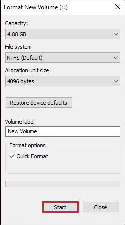 Format volume
