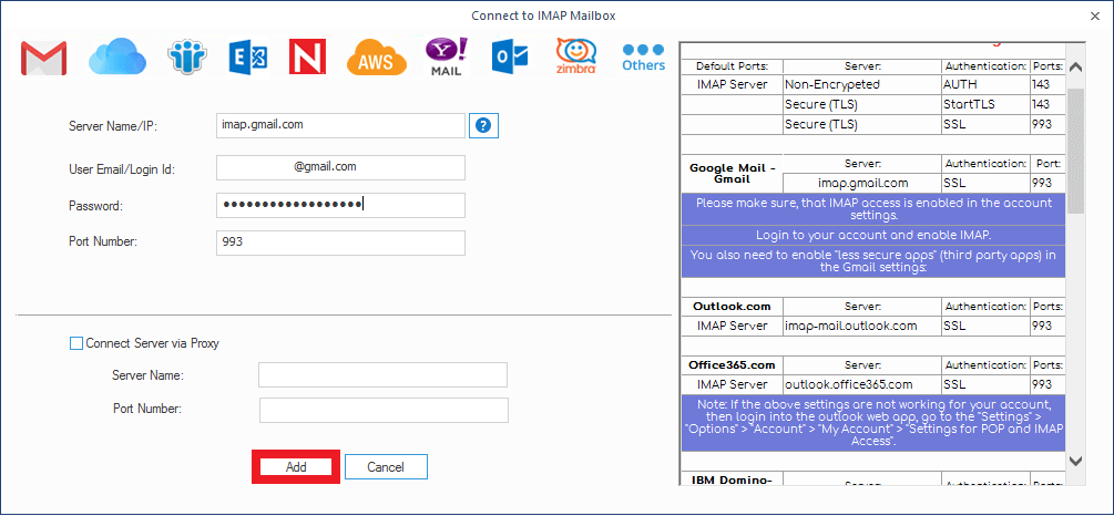 provide the login credentials of your Gmail account