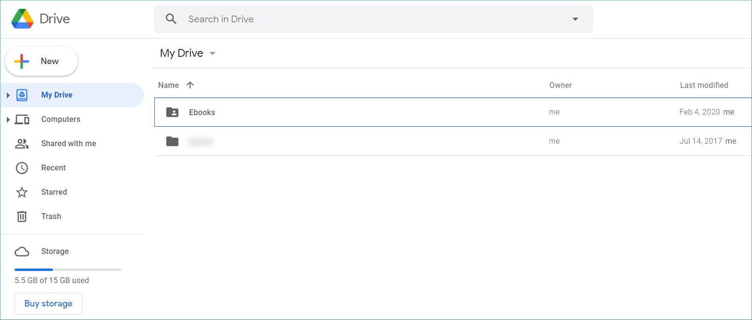 interface of Google Drive