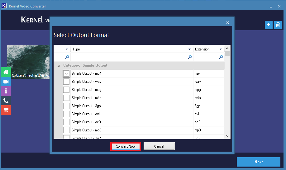 Select Output Format