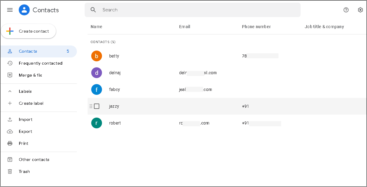 Google Contacts interface