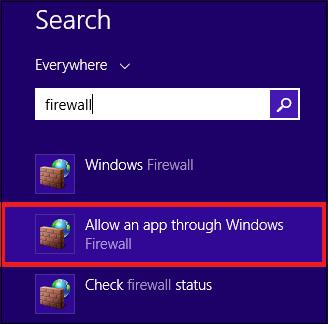 Allow an app through window