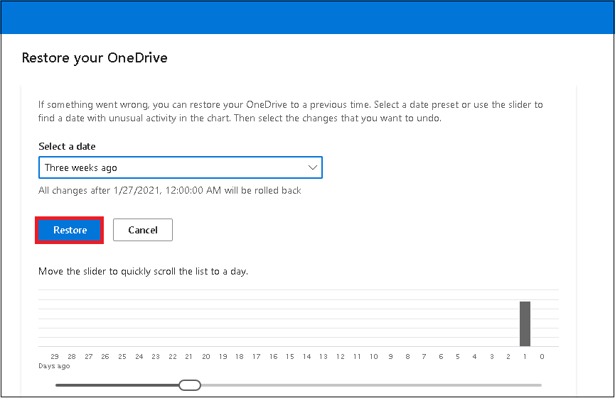 restore the selected date range version of your OneDrive