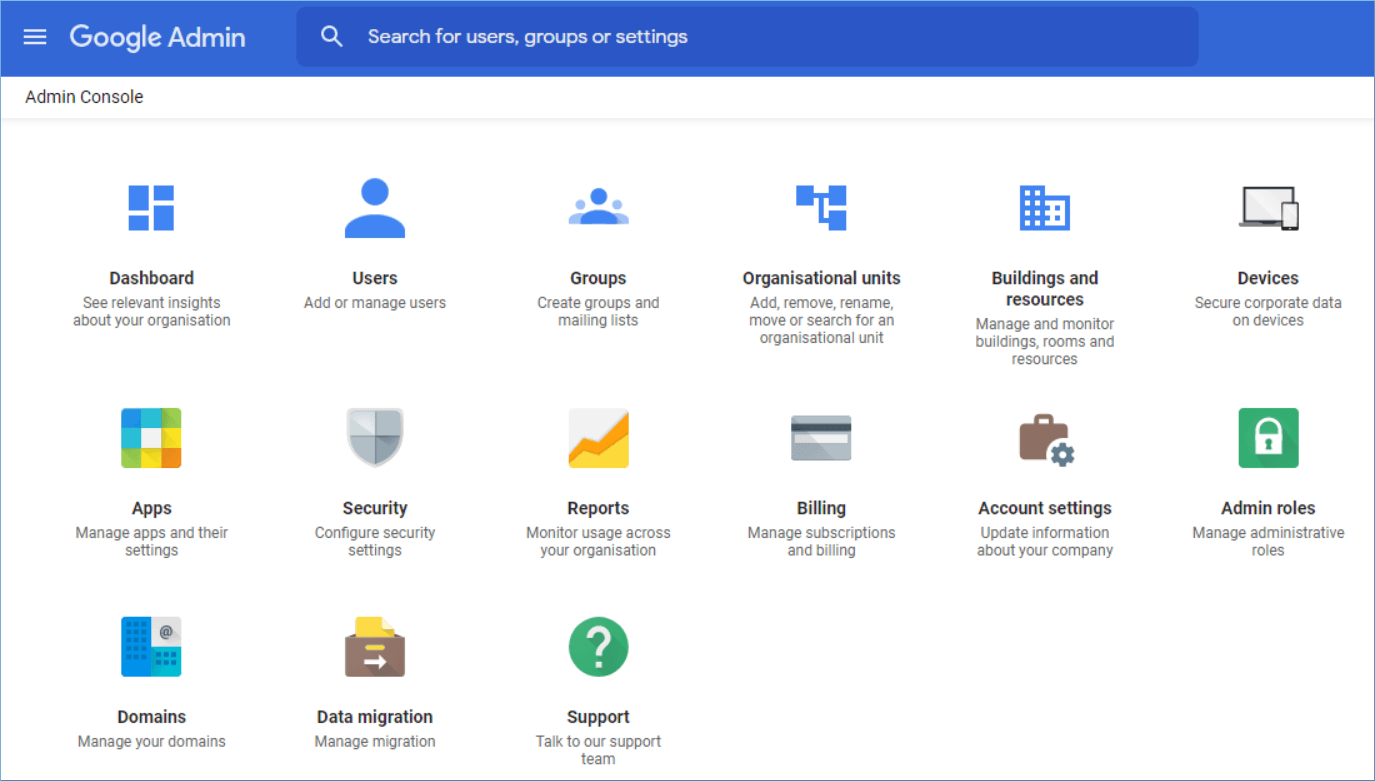 Login Google Admin Console