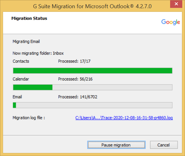 The migration is started