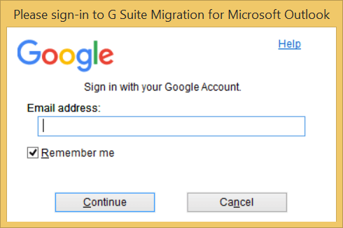 input the email address of the G Suite account