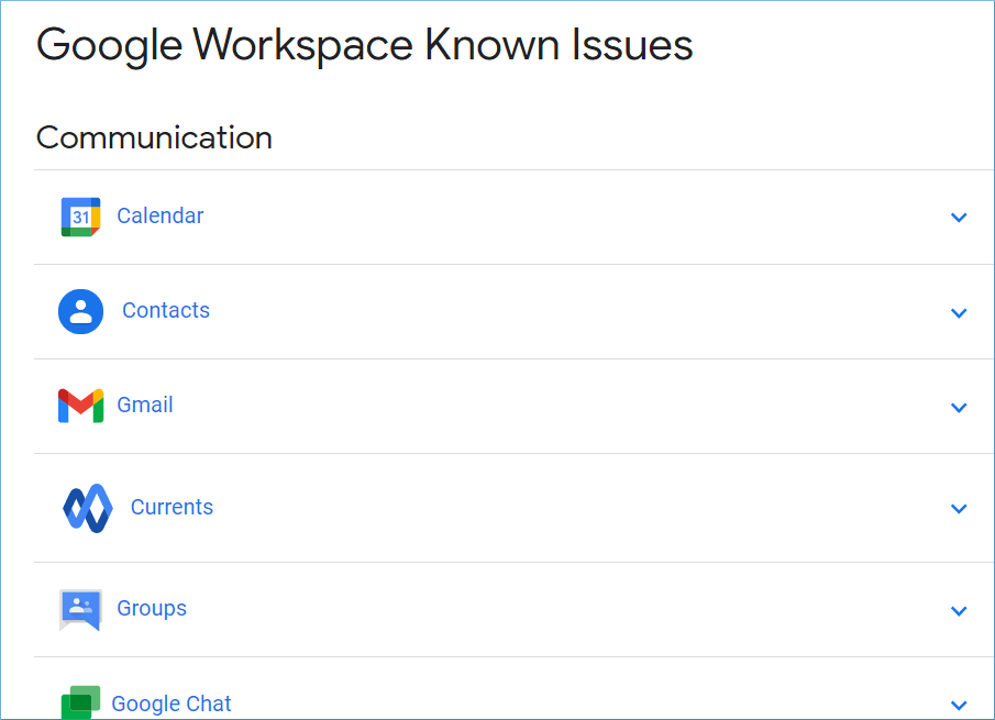 Check the Google Workspace known issues