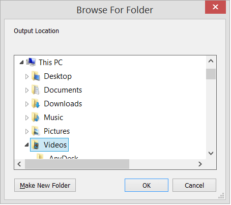 Provide a new folder location