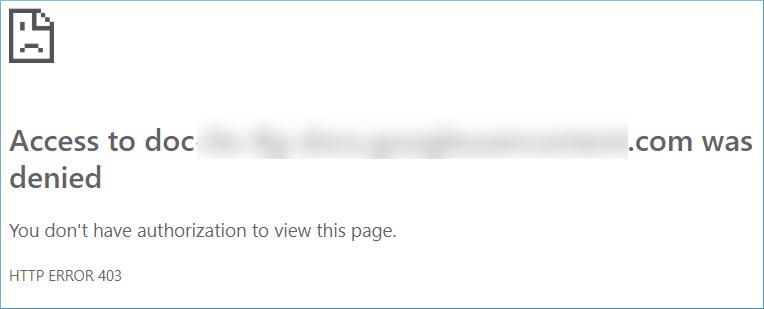 Google Drive Access Denied