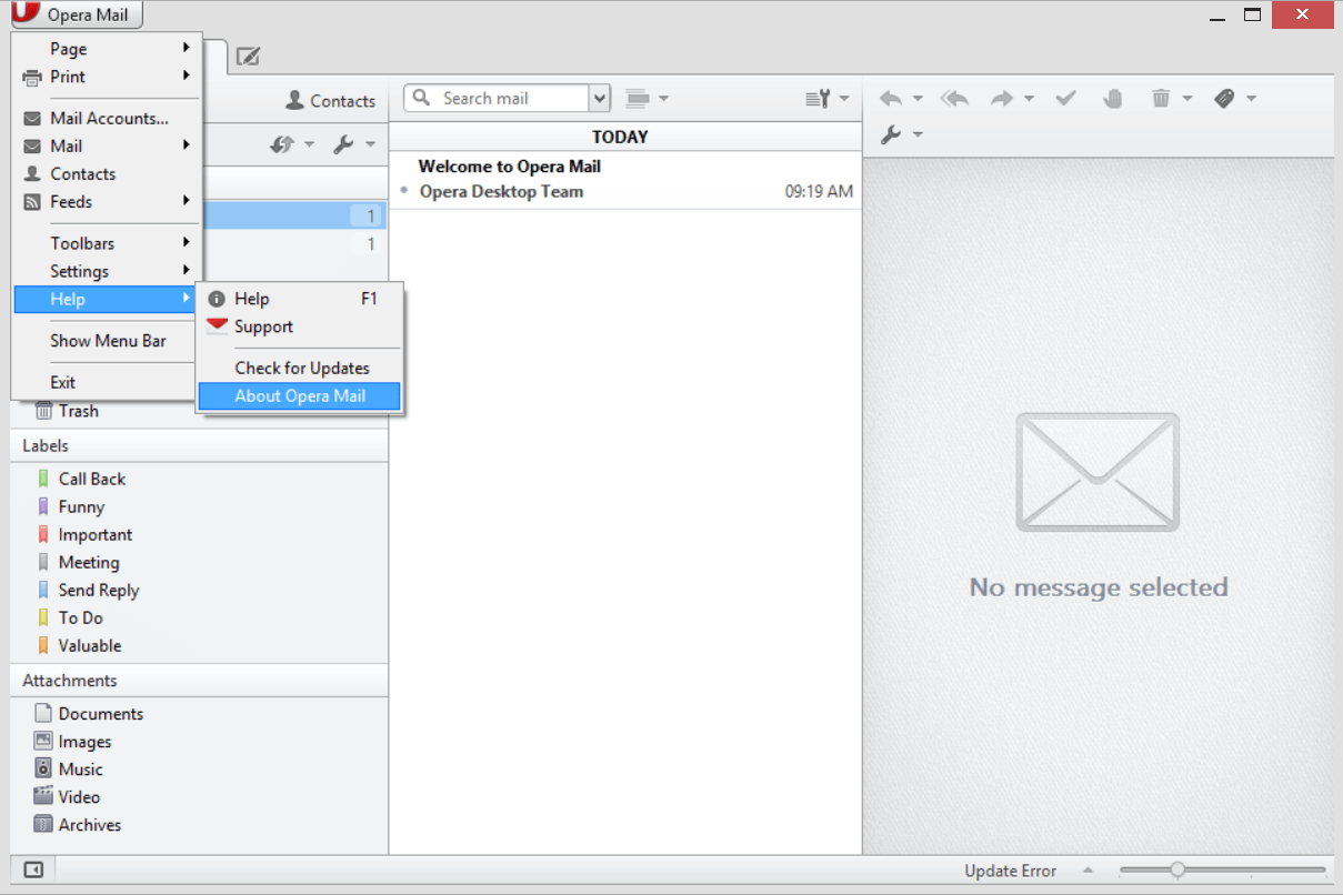 click the icon of Opera Mail