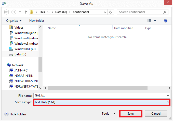 select the destination folder