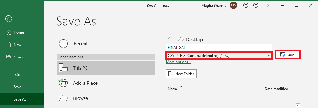 Save file in csv format