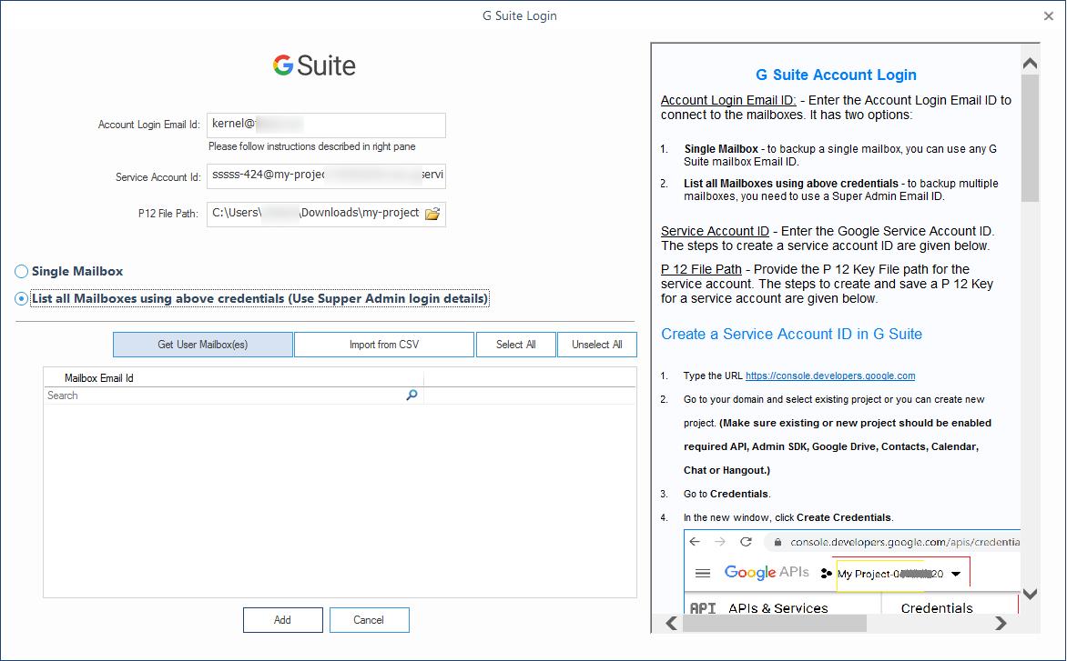 G Suite account login details