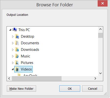 Select the folder for saving