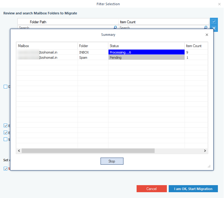 The backup of  Zoho Mail data gets started