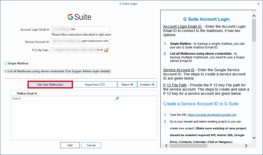 Provide G Suite login details