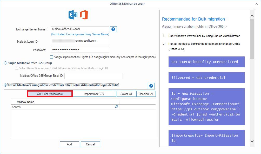 Provide Office 365 login details