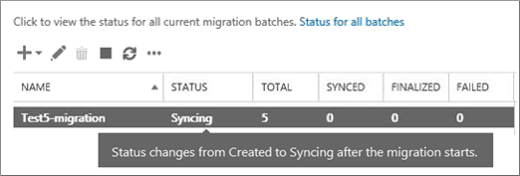 status of the migration batch